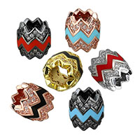 Cubic Zirconia Micro Pave Brass European Bead, plated, micro pave cubic zirconia & without troll & enamel, more colors for choice, 10x9x9mm, Hole:Approx 5mm, Sold By PC
