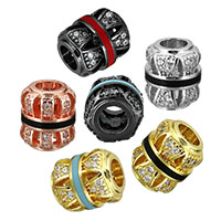 Cubic Zirconia Micro Pave Brass European Bead, plated, micro pave cubic zirconia & enamel & hollow, more colors for choice, 10x9x9mm, Hole:Approx 4mm, Sold By PC