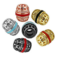 Cubic Zirconia Micro Pave Brass European Bead, Oval, plated, micro pave cubic zirconia & enamel & hollow, more colors for choice, 10x9x9mm, Hole:Approx 4mm, Sold By PC