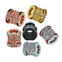 Cubic Zirconia Micro Pave Brass European Bead, Column, plated, micro pave cubic zirconia & without troll & enamel & hollow, more colors for choice, 9.5x9x9mm, Hole:Approx 5mm, Sold By PC