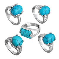 Turquoise Finger Ring, Brass, with Synthetic Turquoise, platinum color plated, for woman & mixed, 12-18mm, US Ring Size:8-10, Sold By PC