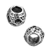 Zinc Alloy European Beads Setting, Rondelle, without troll & blacken, 10x8.5x10mm, Hole:Approx 5mm, Inner Diameter:Approx 3x3mm, Sold By PC