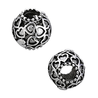 Zinc Alloy European Beads, Rondelle, without troll & hollow & blacken, 11.5x12x13mm, Hole:Approx 5mm, Sold By PC