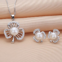 Sterling Silver Freshwater Pearl Jewelry Sets, 925 Sterling Silver, earring & necklace, with Freshwater Pearl, Three Leaf Clover, natural, box chain & with rhinestone & hollow, 20x29mm, 12x13.6mm, Length:Approx 17.7 Inch, Sold By Set