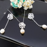 Sterling Silver Freshwater Pearl Jewelry Sets, 925 Sterling Silver, pendant & earring, with Freshwater Pearl, Flower, natural, with rhinestone, 13x26.7mm, 13.4x48.9mm, Hole:Approx 3-5mm, Sold By Set