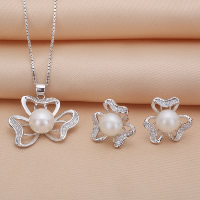 Sterling Silver Freshwater Pearl Jewelry Sets, 925 Sterling Silver, earring & necklace, with Freshwater Pearl, Three Leaf Clover, natural, box chain & with rhinestone, 25x27mm, 15x15mm, Length:Approx 17.7 Inch, Sold By Set