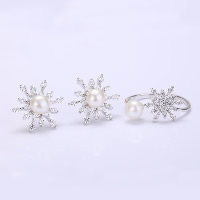 Sterling Silver Freshwater Pearl Jewelry Sets, 925 Sterling Silver, finger ring & earring, with Freshwater Pearl, Snowflake, natural, open & adjustable & with rhinestone, 16mm, 21mm, US Ring Size:14.5-16, Sold By Set