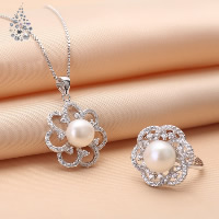 Sterling Silver Freshwater Pearl Jewelry Sets, 925 Sterling Silver, finger ring & necklace, with Freshwater Pearl, Flower, natural, open & box chain & with rhinestone & hollow, 15x22mm, 13x13mm, US Ring Size:14.5-16, Length:Approx 17.7 Inch, Sold By Set