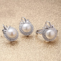Sterling Silver Freshwater Pearl Jewelry Sets, 925 Sterling Silver, finger ring & earring, with Freshwater Pearl, Apple, natural, adjustable & with rhinestone, 12x16mm, 12mm, US Ring Size:14.5-16, Sold By Set