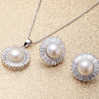 Sterling Silver Freshwater Pearl Jewelry Sets, 925 Sterling Silver, earring & necklace, with Freshwater Pearl, Flat Round, natural, box chain & with cubic zirconia, 12x16mm, 12mm, Length:Approx 17.7 Inch, Sold By Set