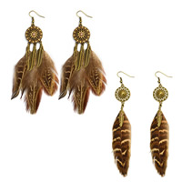 Fashion Feather Earring , Zinc Alloy, with Feather, brass earring hook, antique bronze color plated, different styles for choice & for woman & enamel & with rhinestone, 130mm, Sold By Pair