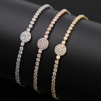Cubic Zirconia Micro Pave Brass Bracelet, Flat Round, plated, adjustable & box chain & micro pave cubic zirconia & for woman, more colors for choice, Length:Approx 9 Inch, Sold By Strand