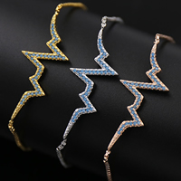 Cubic Zirconia Micro Pave Brass Bracelet, Lightning Symbol, plated, adjustable & box chain & micro pave cubic zirconia & for woman, more colors for choice, Length:Approx 9 Inch, Sold By Strand