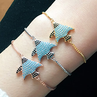 Cubic Zirconia Micro Pave Brass Bracelet, Fish, plated, adjustable & box chain & micro pave cubic zirconia & for woman, more colors for choice, Length:Approx 9 Inch, Sold By Strand