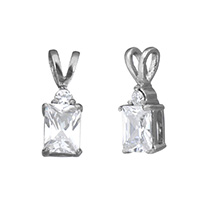 Cubic Zirconia Stainless Steel Pendant, 316L Stainless Steel, Rectangle, with cubic zirconia, original color, Grade AAA, 6x16x5mm, Hole:Approx 2.5x4mm, Sold By PC