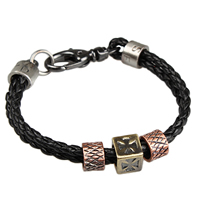 Unisex Bracelet, Cowhide, with Zinc Alloy, plated, 2-strand, Length:Approx 7.8 Inch, Sold By Strand