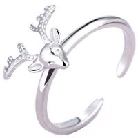 Cubic Zirconia Micro Pave Brass Finger Ring, Antlers, real silver plated, with 925 logo & open & micro pave cubic zirconia & for woman, lead & cadmium free, 17mm, US Ring Size:6.5, Sold By PC