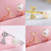 Cubic Zirconia Micro Pave Brass Finger Ring, with ABS Plastic Pearl, Bowknot, plated, with 925 logo & open & micro pave cubic zirconia & for woman, more colors for choice, lead & cadmium free, 15mm, US Ring Size:4, Sold By PC