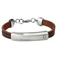 Unisex Bracelet, Cowhide, with Zinc Alloy, antique silver color plated, with letter pattern, Length:Approx 8 Inch, Sold By Strand