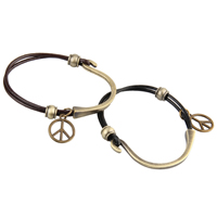 Unisex Bracelet, Cowhide, with Zinc Alloy, Peace Logo, antique bronze color plated, 2-strand, more colors for choice, 15mm, Length:Approx 7.2 Inch, Sold By Strand