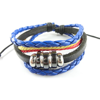Unisex Bracelet, Cowhide, with Waxed Cotton Cord & Non Magnetic Hematite & Zinc Alloy, plated, adjustable & 6-strand, Length:Approx 7.4 Inch, Sold By Strand