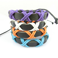 Unisex Bracelet, Cowhide, with Waxed Cotton Cord, adjustable, more colors for choice, Length:Approx 7.4 Inch, Sold By Strand