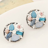 Cats Eye Earring, Zinc Alloy, with Cats Eye & Resin, Flat Round, plated, for woman & with rhinestone, 20mm, Sold By Pair