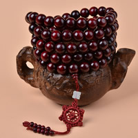 108 Mala Beads, Sandalwood, with Nylon, natural, Buddhist jewelry & different size for choice & 5-strand, 108PCs/Strand, Sold By Strand