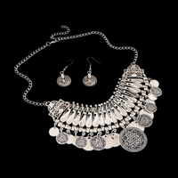 Vintage Coin Statement Jewelry Set, Zinc Alloy, earring & necklace, with 1.9lnch extender chain, plated, twist oval chain & for woman, more colors for choice, 16x42mm,130x75mm, Length:Approx 15.7 Inch, Sold By Set