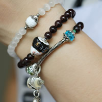 Cats Eye Bracelets, with Porcelain & Crystal & Garnet & Tibetan Silver, Calabash, antique silver color plated, charm bracelet & 3-strand & faceted, 6mm, Length:Approx 22 Inch, Sold By Strand