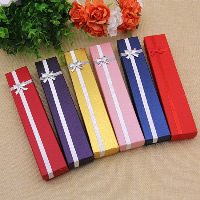 Cardboard Necklace Box, with Sponge & Sparkle Ribbon, Rectangle, more colors for choice, 40x215x25mm, 24PCs/Bag, Sold By Bag