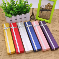 Cardboard Necklace Box, with Sponge & Satin Ribbon, Rectangle, more colors for choice, 215x40x25mm, 24PCs/Bag, Sold By Bag