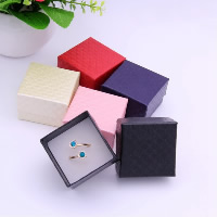 Cardboard Single Ring Box, with Sponge & Satin Ribbon, Square, more colors for choice, 50x50x35mm, 24PCs/Bag, Sold By Bag