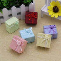 Cardboard Single Ring Box, with Sponge & Satin Ribbon, Square, mixed colors, 40x40x27mm, 24PCs/Bag, Sold By Bag