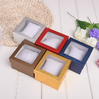 Cardboard Watch Box, with Sponge & Plastic, Square, more colors for choice, 90x90x55mm, 60PCs/Bag, Sold By Bag