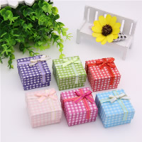 Cardboard Single Ring Box, with Sponge & Satin Ribbon, Square, gingham, mixed colors, 50x50x34mm, 24PCs/Bag, Sold By Bag