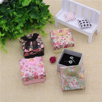 Cardboard Single Ring Box, with Ribbon & Sponge, Square, with flower pattern, more colors for choice, 50x50x30mm, 24PCs/Bag, Sold By Bag