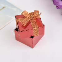 Cardboard Single Ring Box, with Sponge & Sparkle Ribbon, Square, more colors for choice, 50x50x35mm, 24PCs/Bag, Sold By Bag