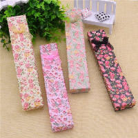 Cardboard Necklace Box, with Ribbon & Sponge, Rectangle, with flower pattern, more colors for choice, 210x40x25mm, 24PCs/Bag, Sold By Bag