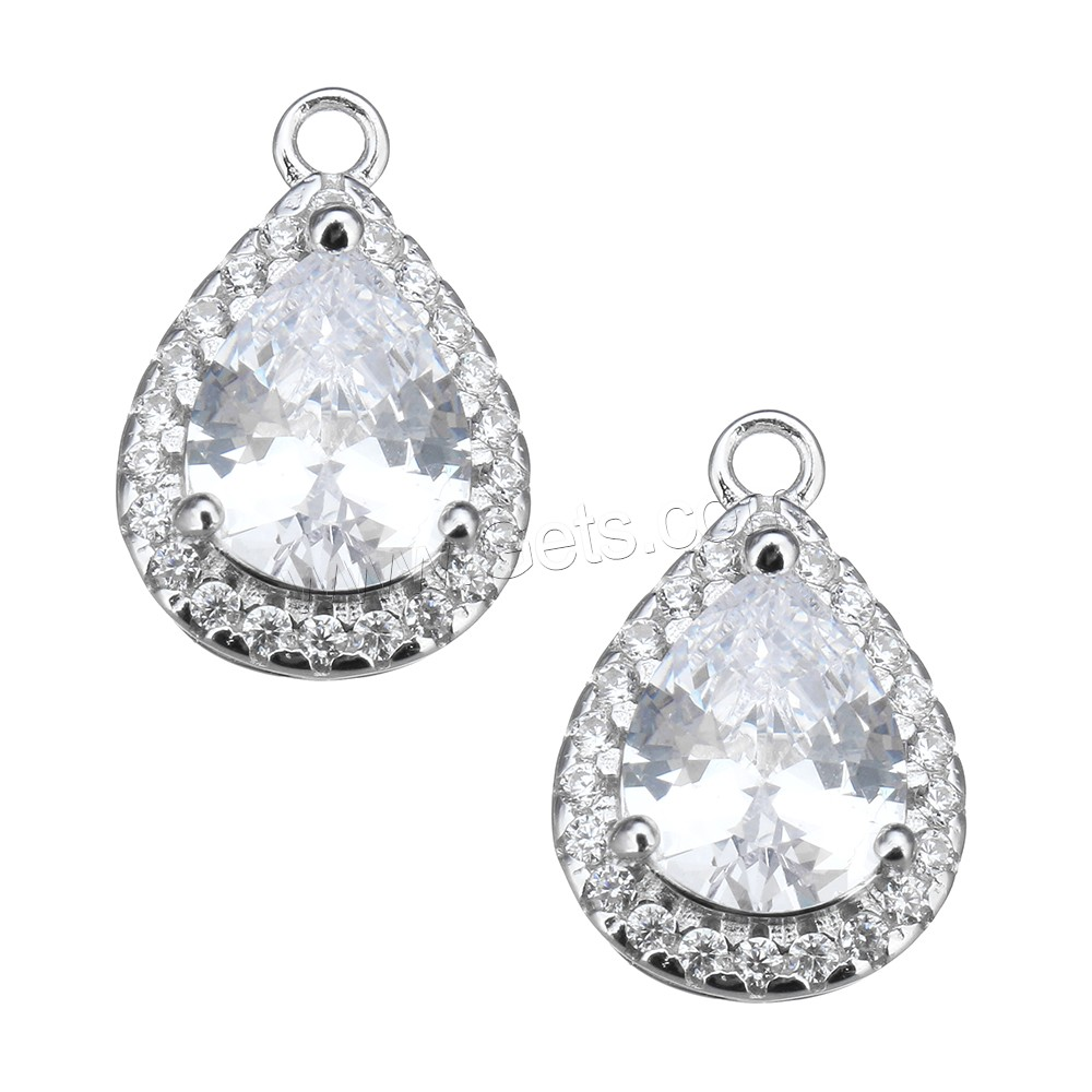 Cubic Zirconia Micro Pave Sterling Silver Pendant, 925 Sterling Silver, Teardrop, micro pave cubic zirconia, 12mm, Hole:Approx 3mm, Sold By PC