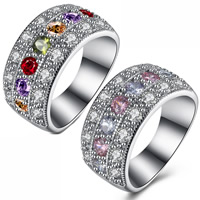Cubic Zirconia Micro Pave Brass Finger Ring, platinum plated, different size for choice & micro pave cubic zirconia & for woman, more colors for choice, 11x22mm, Sold By PC