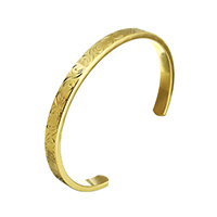 Stainless Steel Cuff Bangle, gold color plated, for woman, 6x2.5mm, Inner Diameter:Approx 57x48mm, Length:Approx 5.5 Inch, Sold By PC