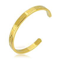 Stainless Steel Cuff Bangle, gold color plated, for woman, 6x2.5mm, Inner Diameter:Approx 56x48mm, Length:Approx 5.5 Inch, Sold By PC
