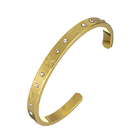 Stainless Steel Cuff Bangle, gold color plated, for woman & with rhinestone, 6x3mm, Inner Diameter:Approx 56.5x48mm, Length:Approx 5.5 Inch, Sold By PC