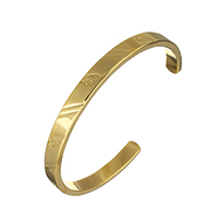 Stainless Steel Cuff Bangle, gold color plated, for woman, 6x2.5mm, Inner Diameter:Approx 56.5x48mm, Length:Approx 5.5 Inch, Sold By PC