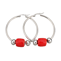 Stainless Steel Hoop Earring, with Lampwork, 44x47x2mm, 12x11x11mm, 6x8x8mm, Sold By Pair