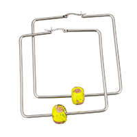 Stainless Steel Hoop Earring, with Lampwork, Square, 62x63x2mm, 9x13x13mm, Sold By Pair
