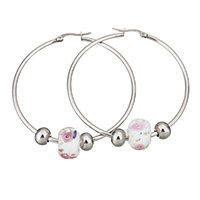 Stainless Steel Hoop Earring, with Lampwork, 54x56x2mm, 9.5x13x13mm, 6x8x8mm, Sold By Pair