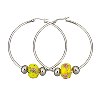 Stainless Steel Hoop Earring, with Lampwork, 55x57x2mm, 9.5x13x13mm, 6x8x8mm, Sold By Pair