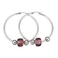 Stainless Steel Hoop Earring, with Lampwork, 54x56x2mm, 9x13.5x13.5mm, 6x8x8mm, Sold By Pair